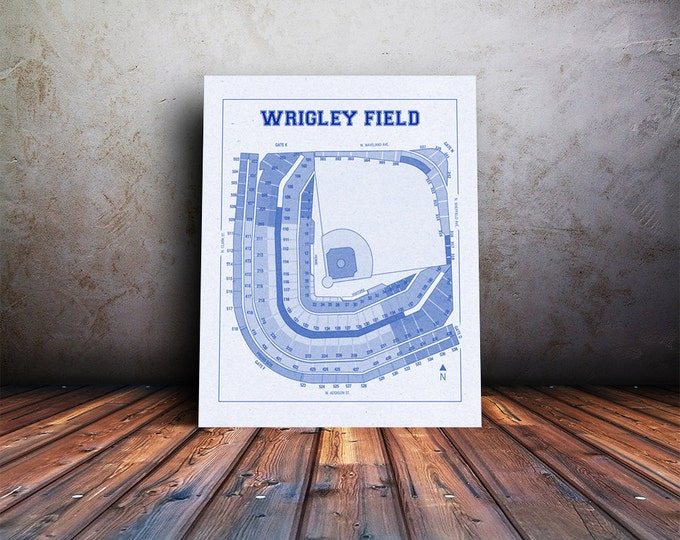 Vintage Print of Wrigley Field Seating Chart Blueprint Chicago Cubs Illinois Photo Paper Matte CANVAS Sports Art Baseball Diagram Sports