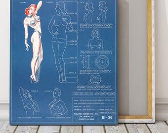 Antique Vintage Print of Fashion Bra Lingerie Blueprint on Matte Paper, Photo Paper or Stretched Canvas
