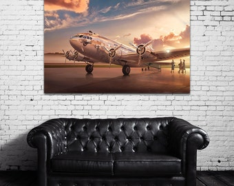 Vintage Antique Pan American Airways Clipper Comet Print on Photo Paper Matte Paper Canvas Art Giclee Print
