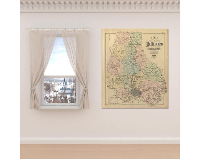 Print of Antique Map Featuring Baltimore County, Maryland on Canvas, Photo Paper, Matte Paper. Free Shipping!