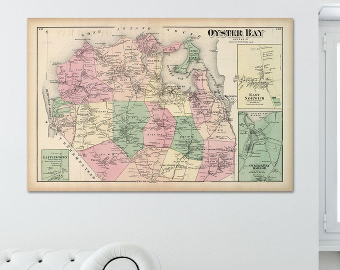 Print of Antique Map of Oyster Bay, Queens County on Matte Paper, Photo Paper, or Stretched Canvas. Free Shipping!
