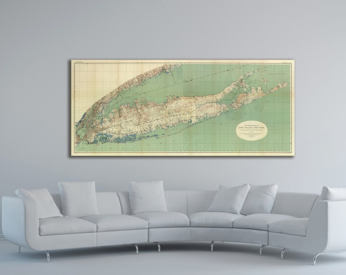 Print of Antique Map of Long Island, New York on Photo Paper Matte Paper or Stretched Canvas