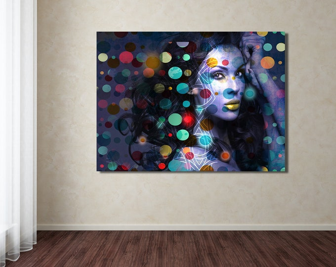 Original Print of Pop Art Collage Featuring Beautiful Female Depiction. Printed on Canvas, Photo Paper, or Matte Paper in Many Sizes.