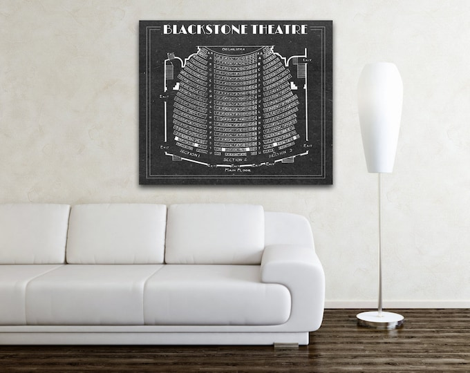 Print of Vintage Blackstone Theatre Seating Chart on Premium Photo Luster Paper, Heavy Matte Paper, or Stretched Canvas