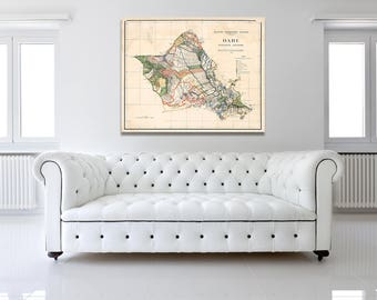 Print of Antique Map of Oahu Island Hawaiian Islands on Photo Paper Matte Paper or Stretched Canvas