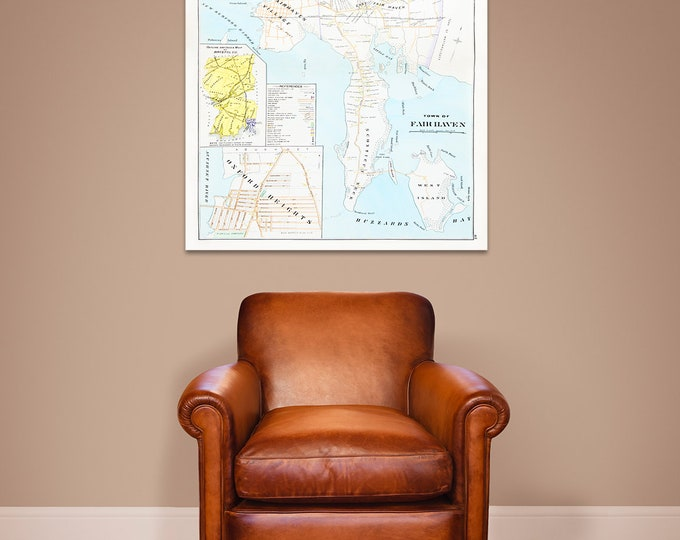 Print of Antique Town Map of Massachusetts on Photo Paper, Matte Paper and Stretched Canvas