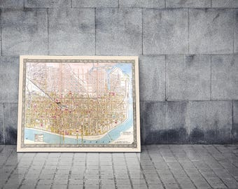 Print of Antique Map of Atlantic City New Jersey on Photo Paper Matte Paper or Stretched Canvas