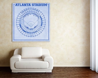 Print of Vintage Fulton County Stadium Seating Chart on Photo Paper, Matte paper or Canvas