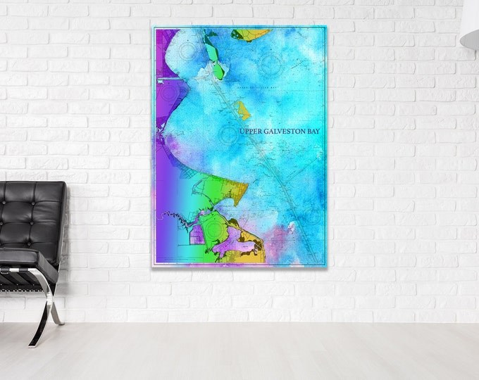 Artistic Print of Upper Galveston Bay Chart on your choice of Photo Paper, Matte Paper or Canvas Giclee