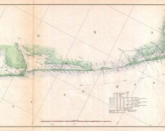 Antique vintage Texas Galveston Paper, Matte or Canvas Wall Art Decor ca California nautical chart island 1800s
