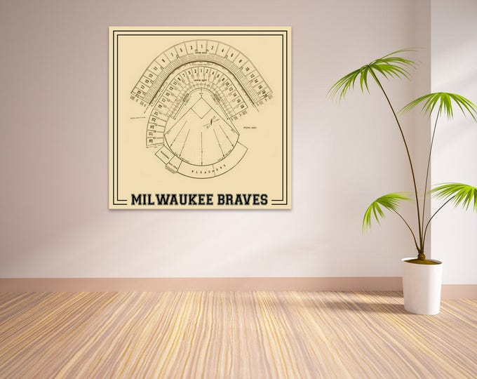 Print of Vintage Milwaukee County Stadium Seating Chart on Photo Paper, Matte paper or Canvas
