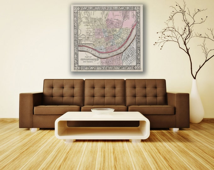Print of Antique Map of Cincinnati, Ohio by Mitchell on Photo Paper Matte Paper or Stretched Canvas