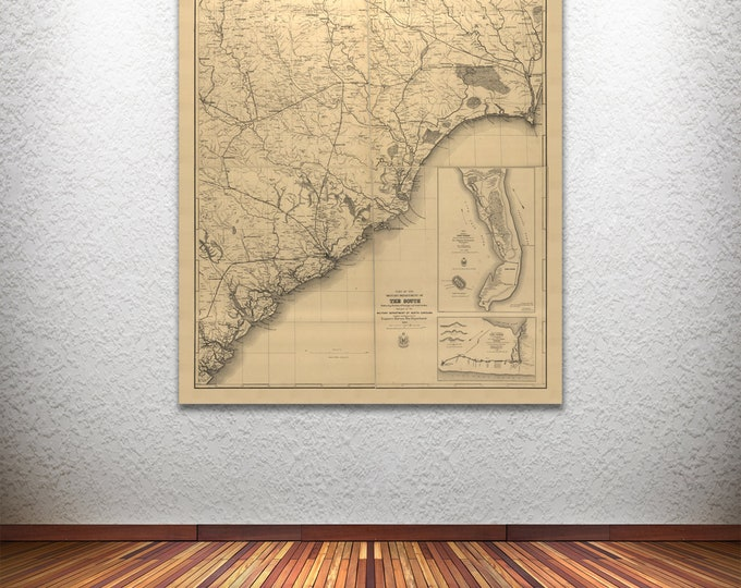 Print of Antique Map Featuring 1865 North Carolina and Georgia, printed on Canvas, Matte Paper, Photo Paper