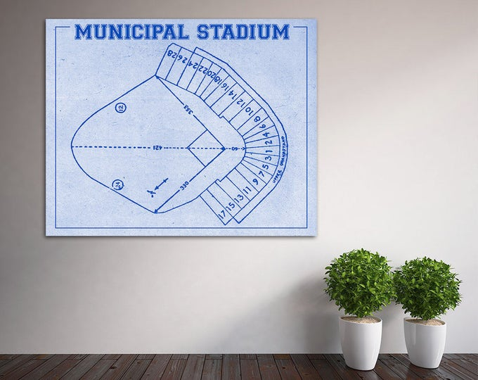 Vintage Print of Kansas City Athletics Municipal Stadium Seating Chart Baseball Blueprint on Photo Paper, Matte Paper or Stretched Canvas