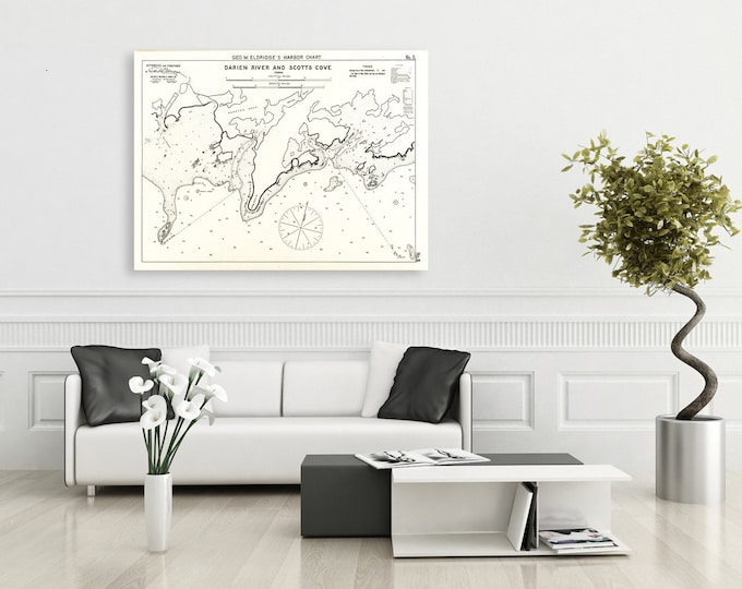Antique Print of Darien River & Scotts Cove in Connecticut nautical chart on your choice of Photo Paper, Matte Paper or Canvas Giclee