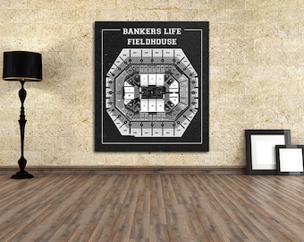 Vintage Bankers Life Fieldhouse Diagram on Photo Paper, Matte paper or Canvas Sports Stadium Tickets Art Home Decor Line Drawing Pacers