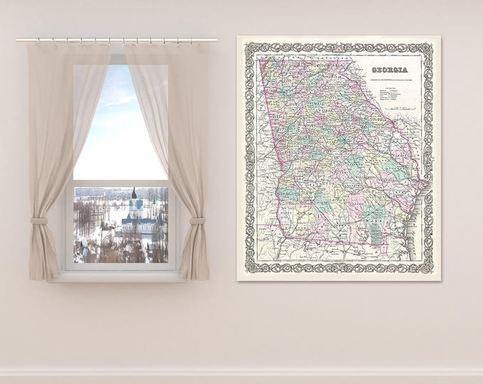 Print of Antique Map of the State of Georgia on Photo Paper Matte Paper or Stretched Canvas