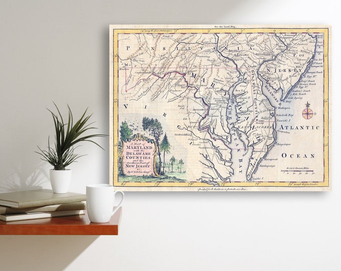 Detailed Vintage Maryland Delaware Counties Southern Part of New Jersey Map Chart Print on Matte Paper, Photo Paper or Stretched Canvas