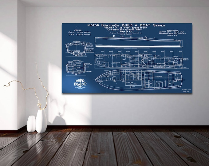 Print of Vintage IRENE Boat Blueprint from Motor Boating's Build a Boat Series on Your Choice of Matte Paper, Photo Paper, or Canvas