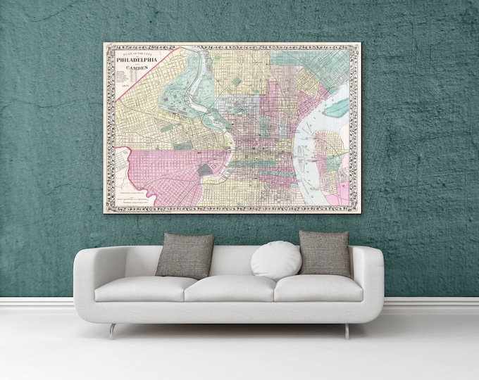 Print of Antique Map of Philadephia and Camden, Pennsylvania on Photo Paper Matte Paper or Stretched Canvas