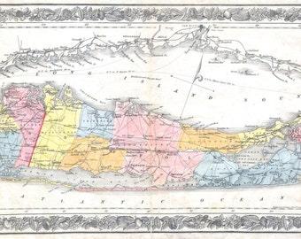 Print of Vintage Long Island Triptych Map Photo Paper Matte Paper Canvas FREE SHIPPING Decor Antique Nautical Chart Blueprint Line New York