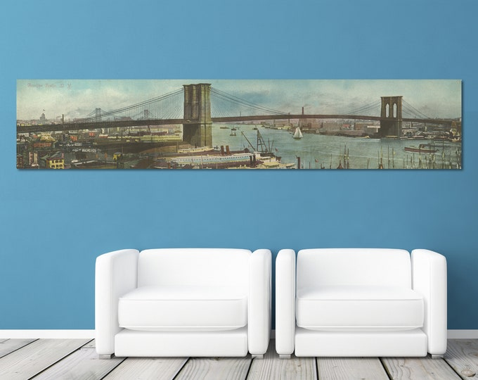 Print of Antique Brooklyn Bridge, New York Panorama on Your Choice of Either Stretched Canvas, Photo Paper, or Matte Paper.