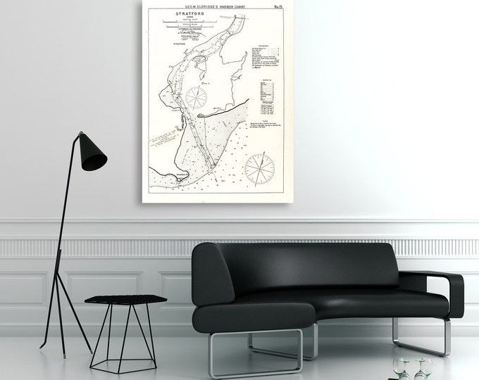 Antique Print of a Nautical Chart Stratford, Connecticut on your choice of Photo Paper, Matte Paper or Canvas Giclee