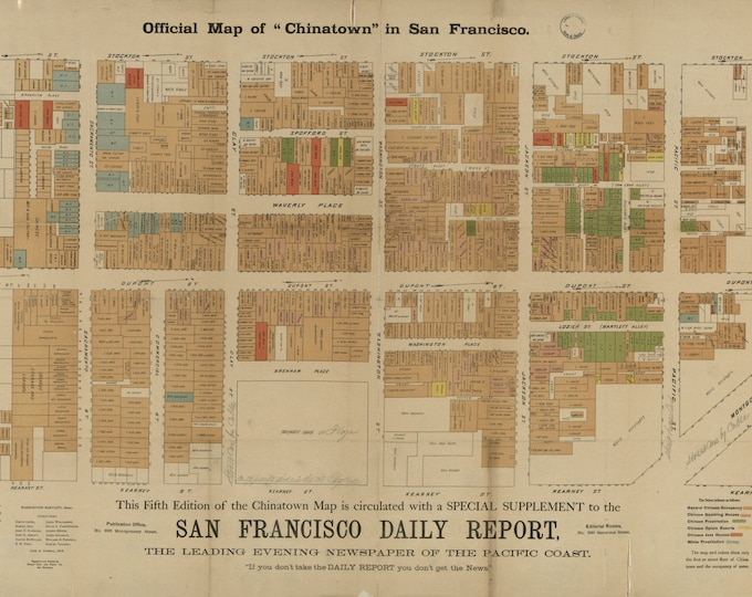 Vintage Antique Chinatown, San Francisco, CA Map Chart Print on Matte Paper, Photo Paper or Stretched Canvas