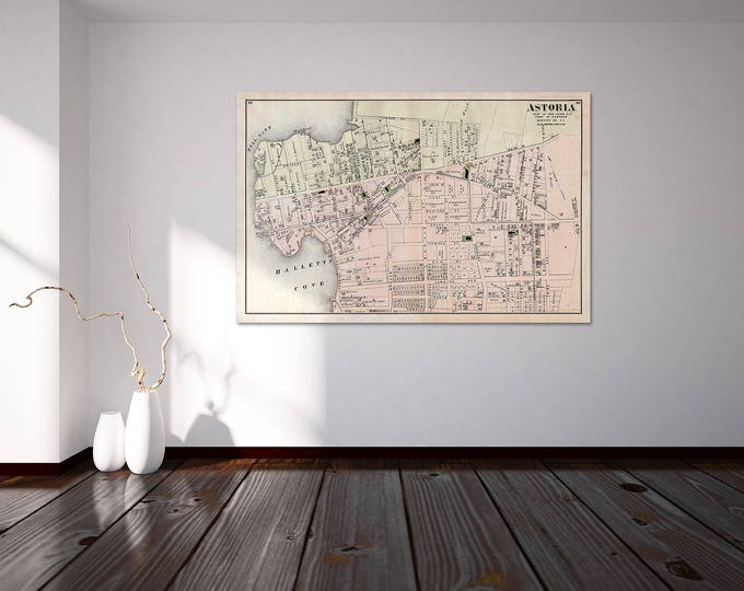 Print of Antique Map of Astoria of Long Island on Photo Paper Matte Paper or Stretched Canvas