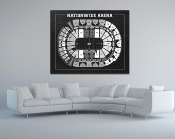 Vintage Nationwide Arena Columbus Blue Jackets on Photo Paper, Matte paper or Canvas Sports Stadium Tickets Art Home Decor Line Drawing