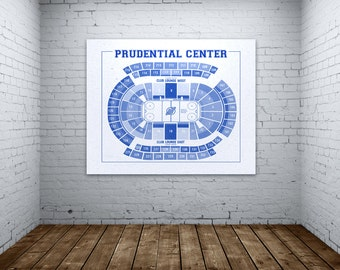 Vintage New Jersey Devils Prudential Center on Photo Paper, Matte paper or Canvas Sports Stadium Tickets Art Home Decor Line Drawing