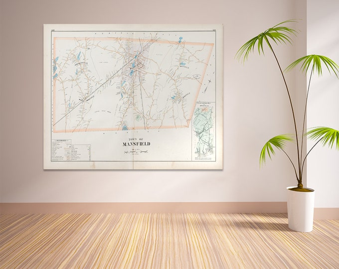 Print of Antique Town Map of Mansfield Massachusetts on Photo Paper, Matte Paper and Stretched Canvas