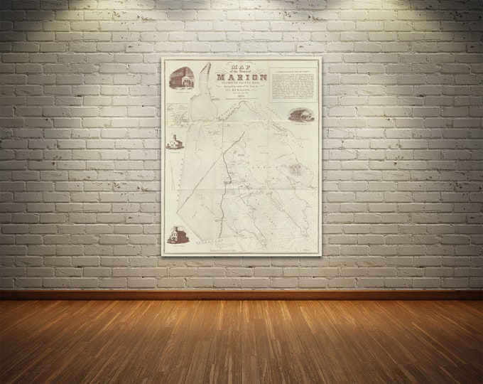 Print of Antique Town Map of Marion Plymouth County 1855 on Stretched Canvas, Photo Paper, or Matte Paper. Free Shipping!