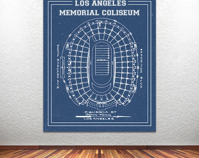 College Los Angeles Rams Vintage Football Stadium Print Blueprint on Photo Paper, Matte Paper or Stretched Canvas