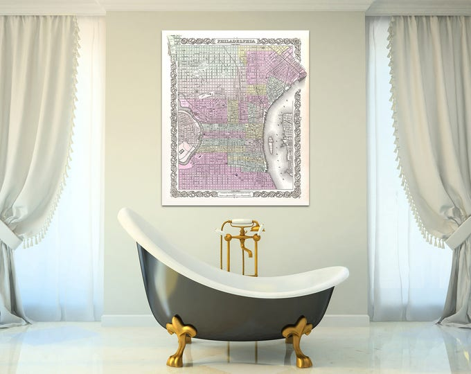 Print of Antique Map of Philadelphia, Pennsylvania on Photo Paper Matte Paper or Stretched Canvas