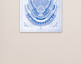Kauffman Baseball Stadium Print Blueprint on Kansas City Royals Photo, Matte Paper or CANVAS MLB Art Decor Athletics Sports Seating Chart