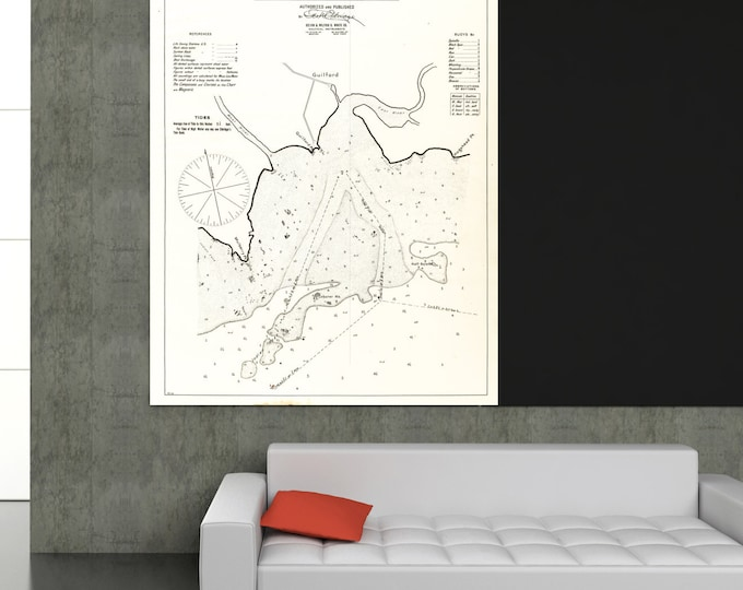 Antique Print of a Guilford, Connecticut Nautical Chart on your choice of Photo Paper, Matte Paper or Canvas Giclee