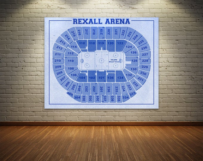 Print of Vintage Rexall Arena Seating Chart on Your Choice of Photo Paper, Matte Paper, or Stretched Canvas
