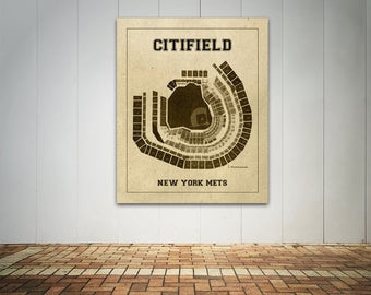 Vintage Print of Citi Field Seating Chart New York Mets Baseball Blueprint on Photo Paper, Matte Paper or Stretched Canvas