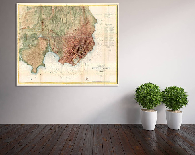 Print of Vintage San Francisco California Map on Photo Paper, Matte Paper, or Stretched Canvas with Free Shipping!