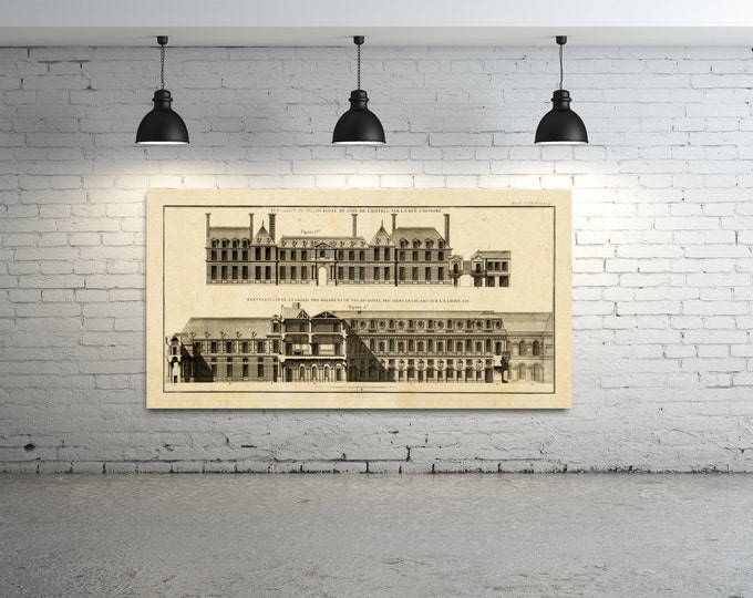 Antique Print of a French  Royal Palace Elevation on your choice of color and Photo Paper, Matte Paper or Canvas Giclee.