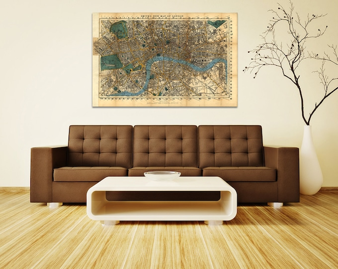Print of Antique Map of London England United Kingdom on Photo Paper, Matte Paper or Stretched Canvas