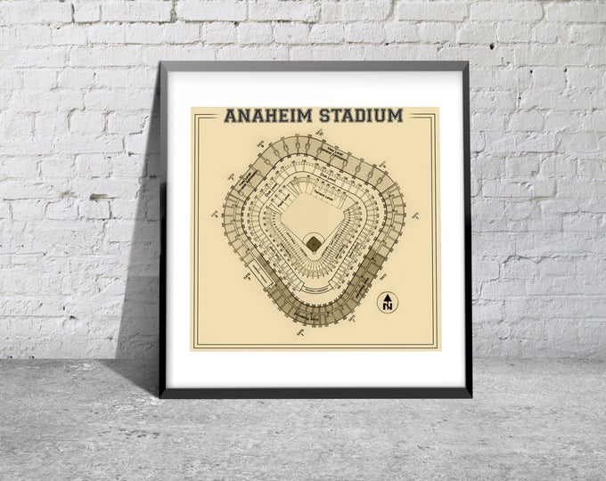 Print of Vintage Anaheim Stadium Seating Chart on Photo Paper, Matte paper or Canvas