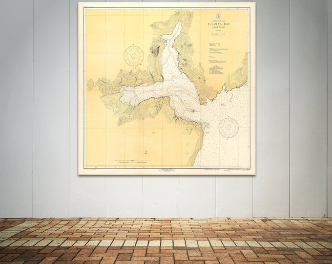 Antique Print of Alaska - South Coast Iliamna Bay Nautical Chart on Matte Paper, Photo Paper, or Stretched Canvas