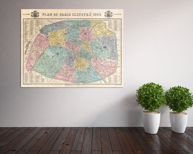 Vintage Style Print of Paris Map on Premium Luster Photo Paper, Heavy Duty Matte Paper, or Stretched Canvas