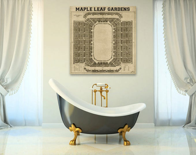 Print of Vintage Maple Leaf Gardens Seating Chart on Your Choice of Photo Paper, Matte Paper, or Canvas