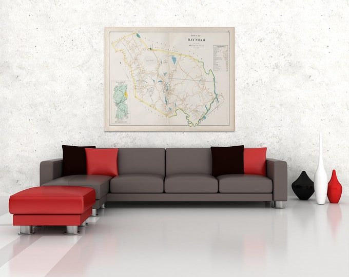 Print of Antique City Map of Raynham Massachusetts on Photo Paper, Matte Paper and Stretched Canvas