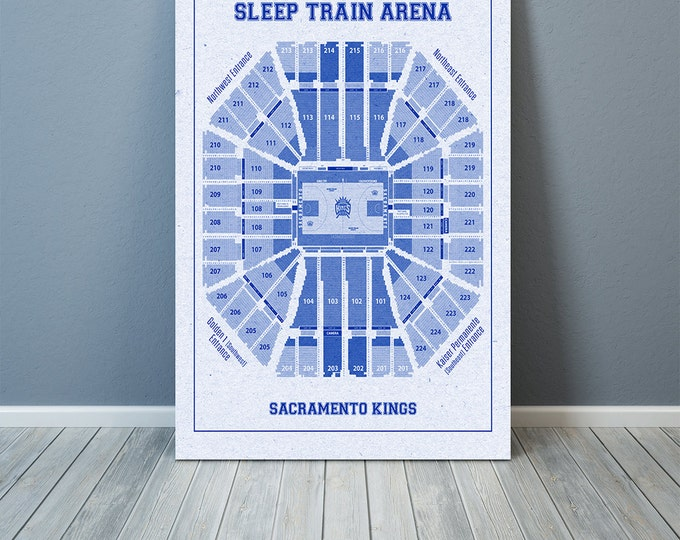 Vintage Print of Sleep Train Arena Seating Chart on Premium Photo Luster Paper Heavy Matte Paper, or Stretched Canvas. Free Shipping!