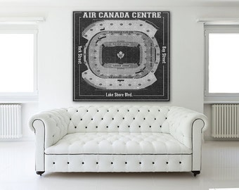 Print of Maple Leafs at Air Canada Centre Vintage Blueprint Photo Paper, Matte or Canvas Sports Drawing Hockey NHL Art