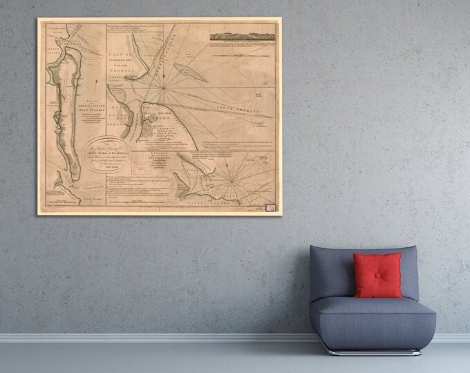 Print of vintage St. Mary's River Map on Photo Paper, Matte Paper, or Canvas